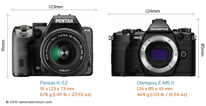Pentax K-S2 vs Olympus E-M5 II Camera Size Comparison - Front View