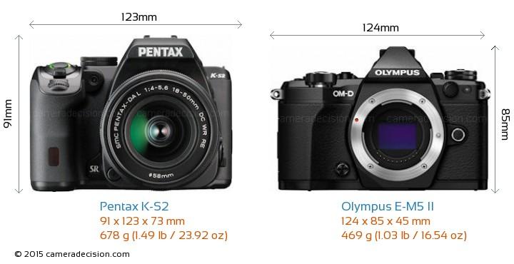 Pentax K-S2 vs Olympus E-M5 II Camera Size Comparison - Front View