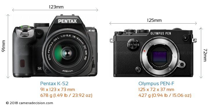 Pentax K-S2 vs Olympus PEN-F Camera Size Comparison - Front View