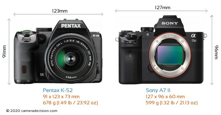 Pentax K-S2 vs Sony A7 II Camera Size Comparison - Front View