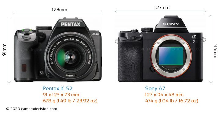Pentax K-S2 vs Sony A7 Camera Size Comparison - Front View