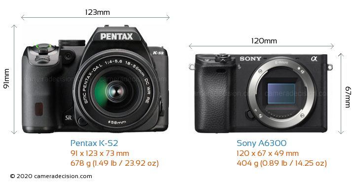 Pentax K-S2 vs Sony A6300 Camera Size Comparison - Front View