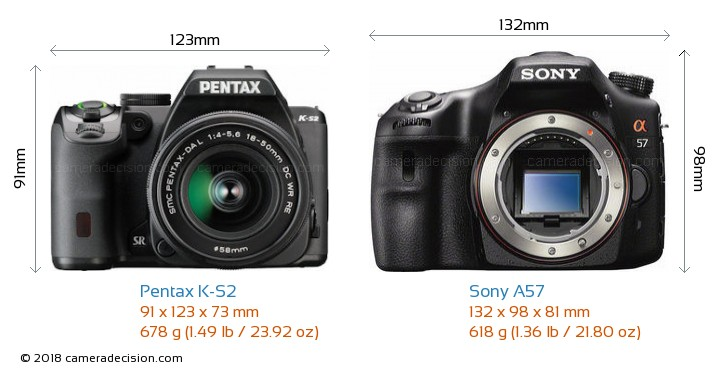 Pentax K-S2 vs Sony A57 Camera Size Comparison - Front View