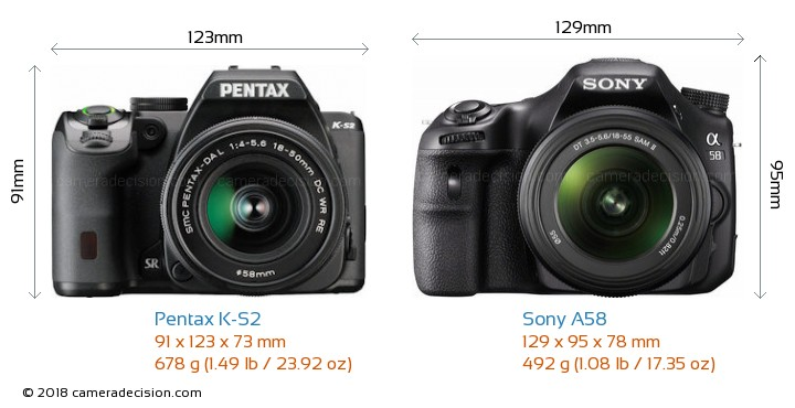 Pentax K-S2 vs Sony A58 Camera Size Comparison - Front View