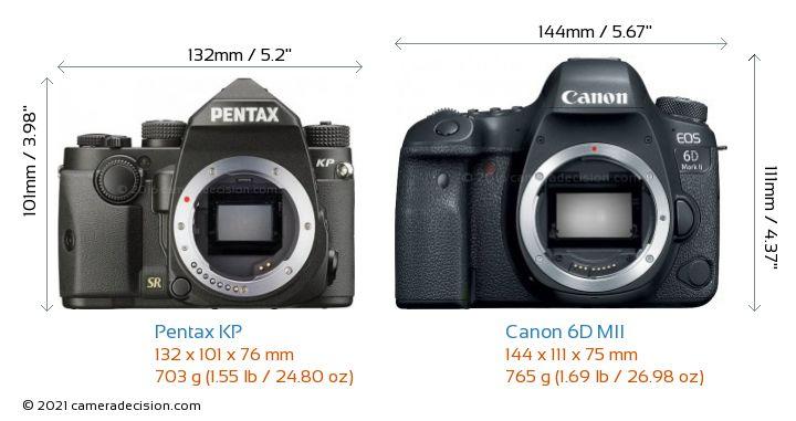 Pentax KP vs Canon 6D MII Camera Size Comparison - Front View