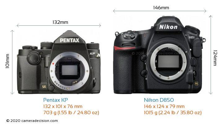 Pentax KP vs Nikon D850 Camera Size Comparison - Front View