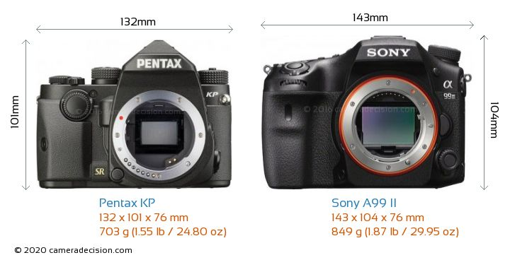 Pentax KP vs Sony A99 II Camera Size Comparison - Front View