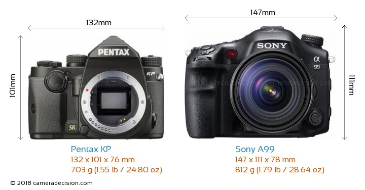 Pentax KP vs Sony A99 Camera Size Comparison - Front View