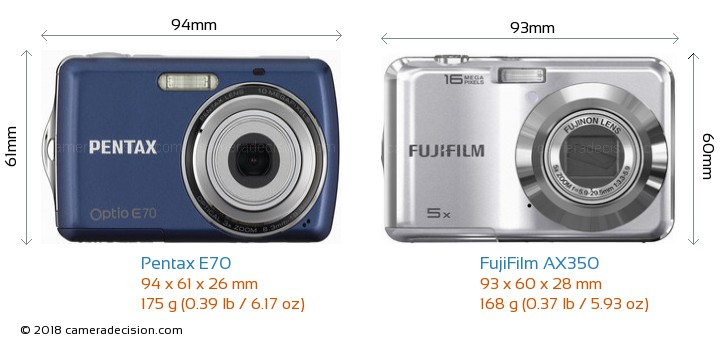Pentax E70 vs FujiFilm AX350 Camera Size Comparison - Front View