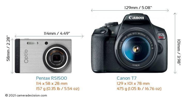 Pentax RS1500 vs Canon T7 Camera Size Comparison - Front View