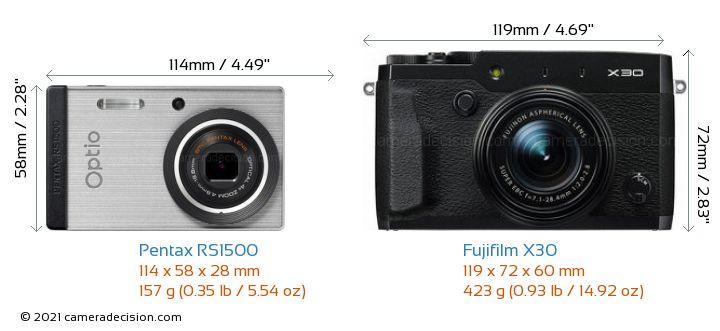 Pentax RS1500 vs Fujifilm X30 Camera Size Comparison - Front View