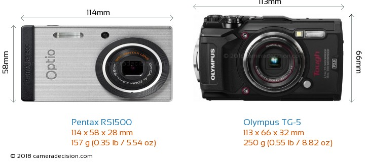 Pentax RS1500 vs Olympus TG-5 Camera Size Comparison - Front View