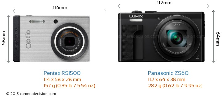 Pentax RS1500 vs Panasonic ZS60 Camera Size Comparison - Front View