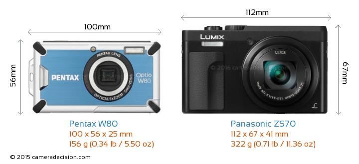Pentax W80 vs Panasonic ZS70 Camera Size Comparison - Front View