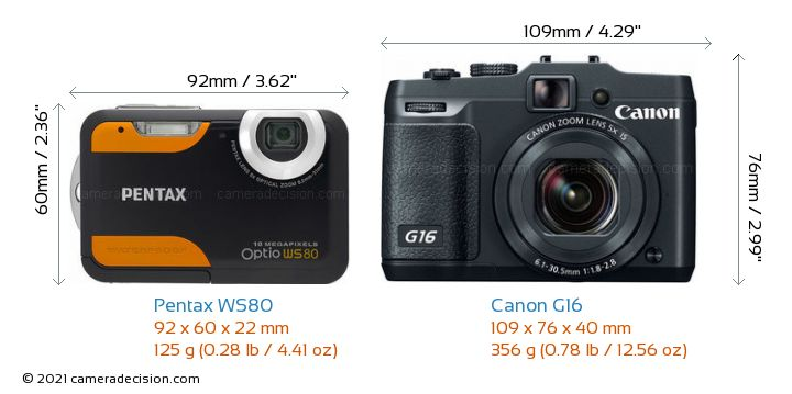Pentax WS80 vs Canon G16 Camera Size Comparison - Front View