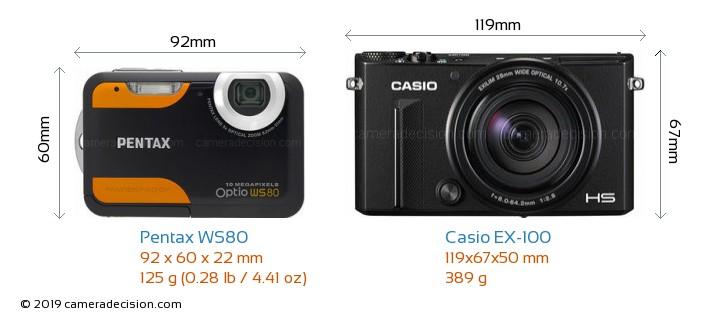 Pentax WS80 vs Casio EX-100 Camera Size Comparison - Front View