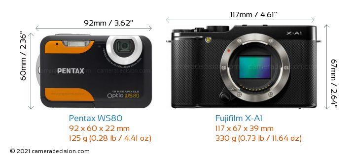 Pentax WS80 vs Fujifilm X-A1 Camera Size Comparison - Front View