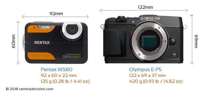 Pentax WS80 vs Olympus E-P5 Camera Size Comparison - Front View