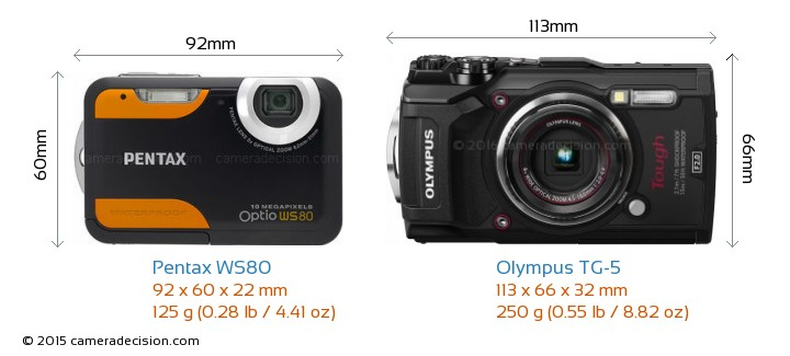 Pentax WS80 vs Olympus TG-5 Camera Size Comparison - Front View