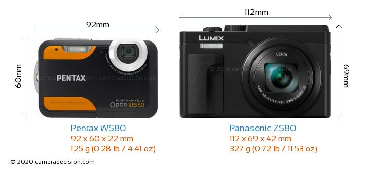 Pentax WS80 vs Panasonic ZS80 Camera Size Comparison - Front View
