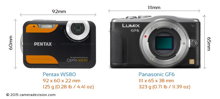 Pentax WS80 vs Panasonic GF6 Camera Size Comparison - Front View