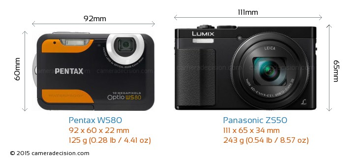 Pentax WS80 vs Panasonic ZS50 Camera Size Comparison - Front View