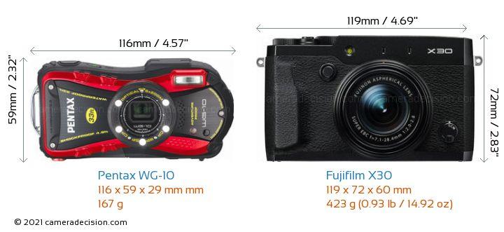 Pentax WG-10 vs Fujifilm X30 Camera Size Comparison - Front View