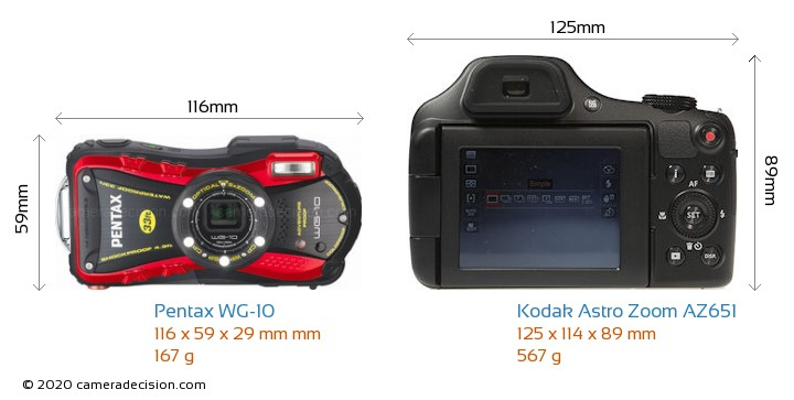 Pentax WG-10 vs Kodak Astro Zoom AZ651 Camera Size Comparison - Front View