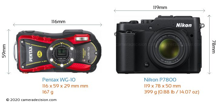 Pentax WG-10 vs Nikon P7800 Camera Size Comparison - Front View