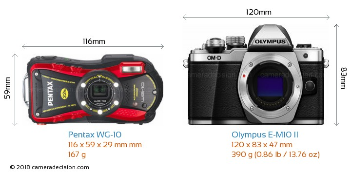 Pentax WG-10 vs Olympus E-M10 II Camera Size Comparison - Front View