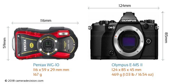 Pentax WG-10 vs Olympus E-M5 II Camera Size Comparison - Front View
