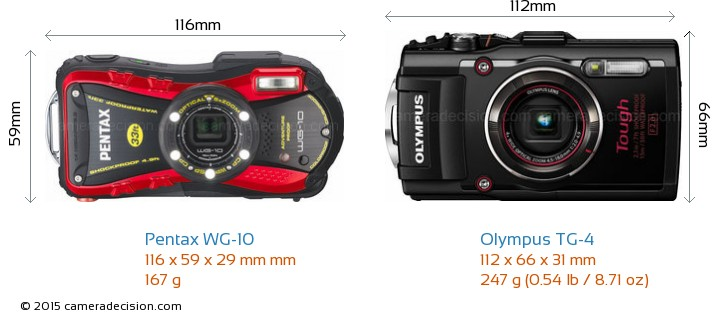 Pentax WG-10 vs Olympus TG-4 Camera Size Comparison - Front View