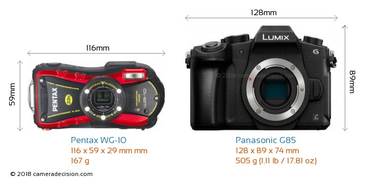 Pentax WG-10 vs Panasonic G85 Camera Size Comparison - Front View