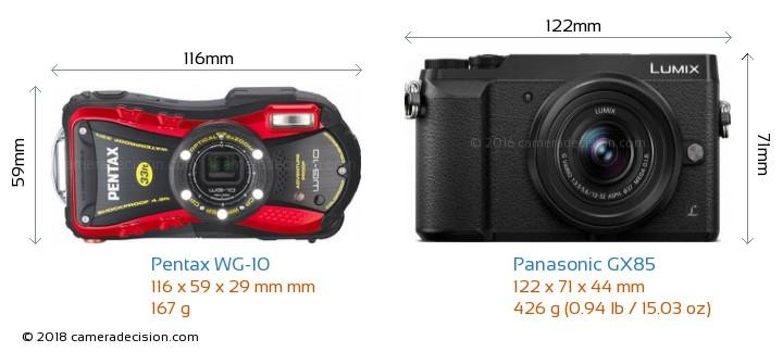 Pentax WG-10 vs Panasonic GX85 Camera Size Comparison - Front View