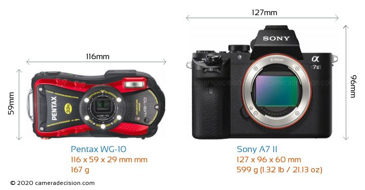 Pentax WG-10 vs Sony A7 II Camera Size Comparison - Front View