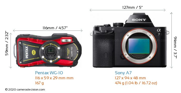 Pentax WG-10 vs Sony A7 Camera Size Comparison - Front View