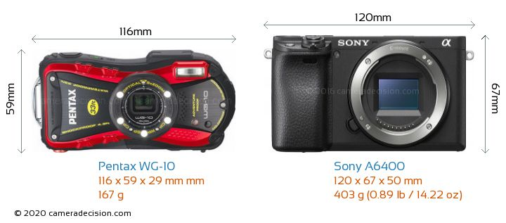 Pentax WG-10 vs Sony A6400 Camera Size Comparison - Front View