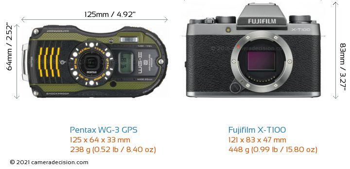 Pentax WG-3 GPS vs Fujifilm X-T100 Camera Size Comparison - Front View