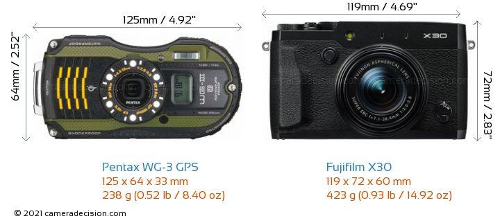 Pentax WG-3 GPS vs Fujifilm X30 Camera Size Comparison - Front View