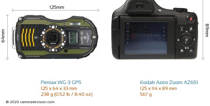 Pentax WG-3 GPS vs Kodak Astro Zoom AZ651 Camera Size Comparison - Front View