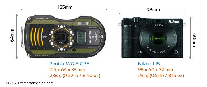 Pentax WG-3 GPS vs Nikon 1 J5 Camera Size Comparison - Front View