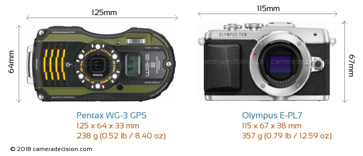 Pentax WG-3 GPS vs Olympus E-PL7 Camera Size Comparison - Front View