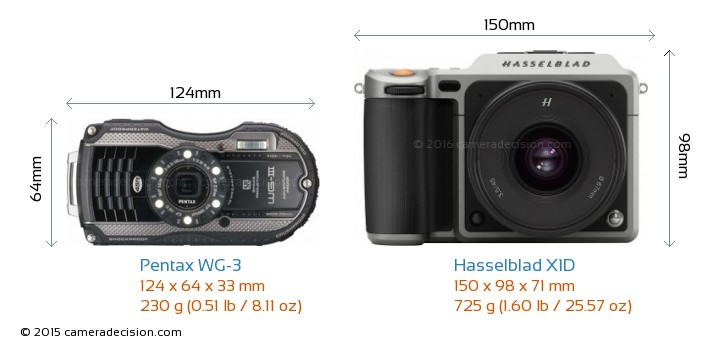Pentax WG-3 vs Hasselblad X1D Camera Size Comparison - Front View
