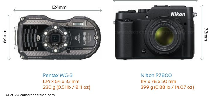 Pentax WG-3 vs Nikon P7800 Camera Size Comparison - Front View