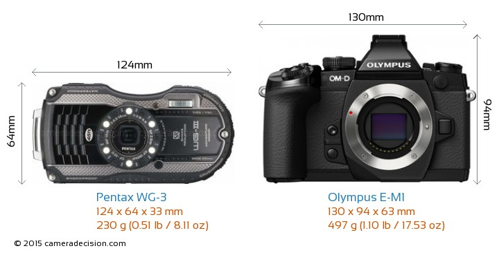Pentax WG-3 vs Olympus E-M1 Camera Size Comparison - Front View