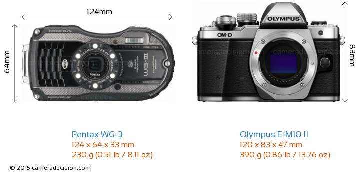 Pentax WG-3 vs Olympus E-M10 II Camera Size Comparison - Front View