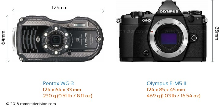 Pentax WG-3 vs Olympus E-M5 II Camera Size Comparison - Front View