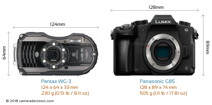 Pentax WG-3 vs Panasonic G85 Camera Size Comparison - Front View