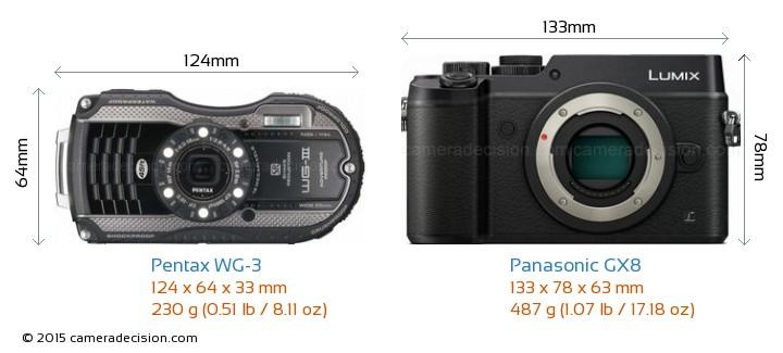 Pentax WG-3 vs Panasonic GX8 Camera Size Comparison - Front View