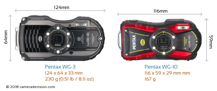 Pentax WG-3 vs Pentax WG-10 Camera Size Comparison - Front View